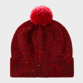 Paul Smith Women's Dark Red Flecked-Wool Bobble Hat