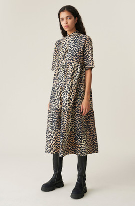 Ganni Printed Cotton Poplin Midi Dress