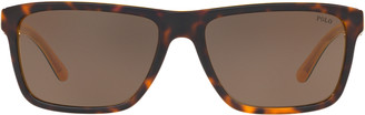 Ralph Lauren Striped Rectangular Sunglasses