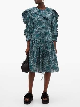 Horror Vacui Custia Floral-print Scallop-edge Cotton Dress - Womens - Dark Green Multi