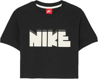 Nike Cropped Printed Cotton-jersey T-shirt