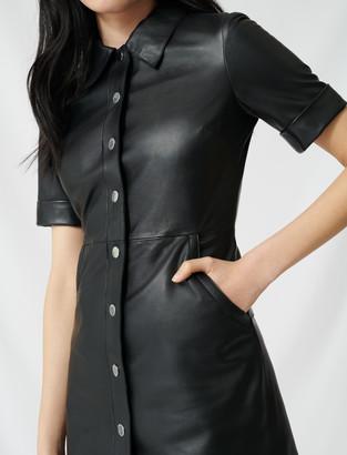 Maje Buttoned leather shirt dress