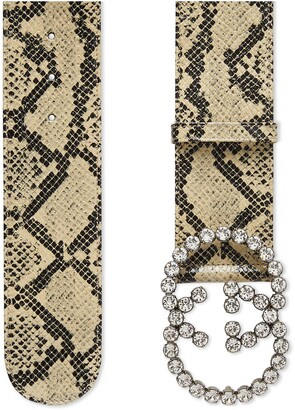 Gucci Wide python print belt with crystalGG