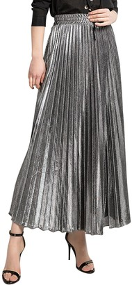 Jolisson Pleated Maxi Skirts Women's Elastic Waist Flowy A-Line Swing Dress Summer Autumn Party Skirt (Silver 10-12 UK)