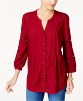 JM Collection Pleated Criss-Cross-Sleeve Top, Created for Macy's