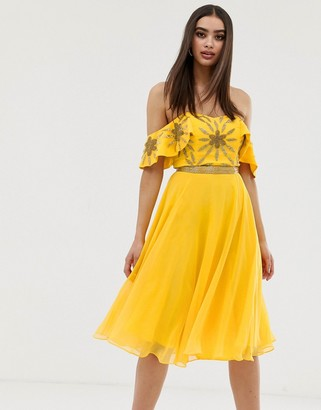Virgos Lounge off shoulder embellished top midi skater dress in yellow