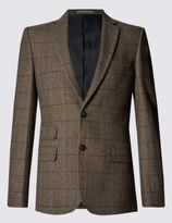 Marks and Spencer Slim Fit Large Check 2 Button Jacket with Wool