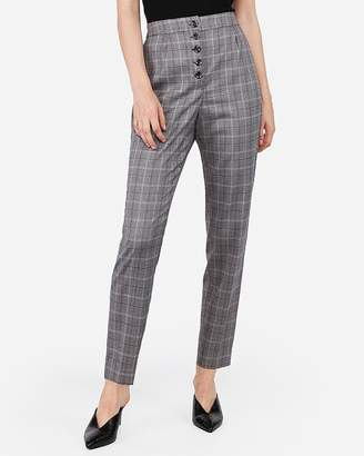 Express High Waisted Plaid Button Front Ankle Pant