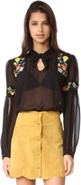 Anna Sui Garden Embroidered Blouse