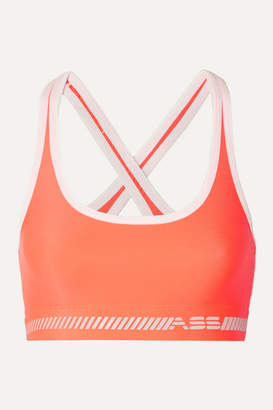 Adam Selman Neon Printed Stretch Sports Bra - Bright orange
