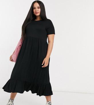 Yours midi smock dress in black