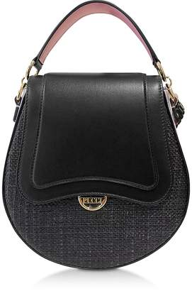 Emilio Pucci Leather and Natural Fiber Top Handle Bag
