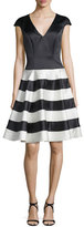 Jovani Cap-Sleeve Fit-&-Flare Cocktail Dress, Black/Ivory