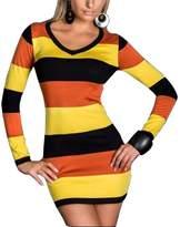Maxhaha Women's Long Sleeve Color Contrast Striped Clubwear Party Dress
