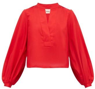 KHAITE Suzanna Cotton Blouse - Red