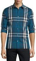 Burberry Nelson Tight-Check Sport Shirt, Marine Blue