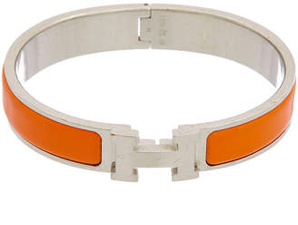 Hermes Palladium-Plated Orange Enamel Narrow Clic-Clac H Bracelet