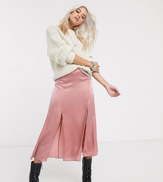 Topshop Petite satin midi skirt in blush pink