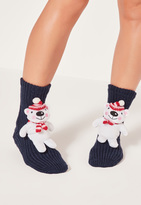 Missguided Polar Bear Gift Socks White