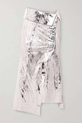 Acne Studios Ileana Metallic Linen Wrap Midi Skirt - Silver