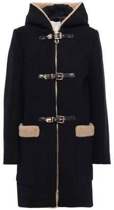 Sandro Faux Shearling-trimmed Wool-blend Felt Coat