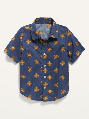 Old Navy Short-Sleeve Printed Chambray Shirt for Toddler Boys