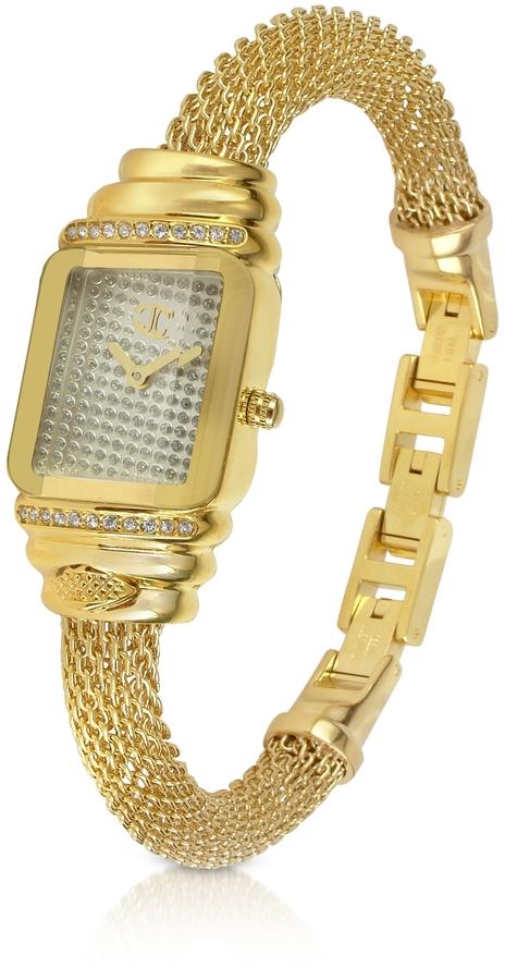 Just Cavalli JC Eshmay - Pave Dial Gold Mesh Bracelet Watch