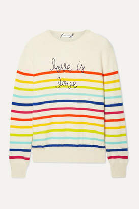 Lingua Franca - Love Is Love Embroidered Striped Cashmere Sweater - Cream