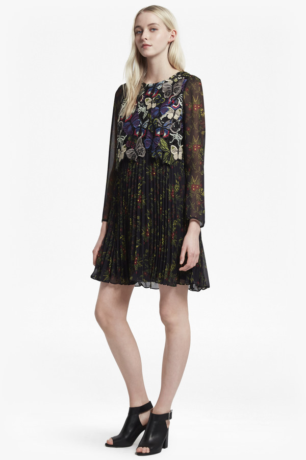 French Connection Cassatt Mix Embroidered Floral Dress