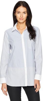 NYDJ Women's Cotton Poplin Mixed Stripe Blouse