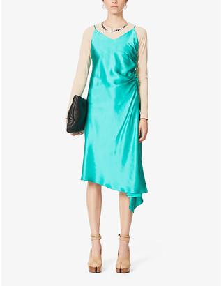MM6 MAISON MARGIELA Asymmetric satin-crepe midi slip dress