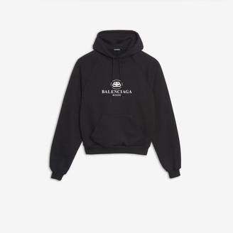 Balenciaga BB Mode Hoodie in black printed brushed fleece