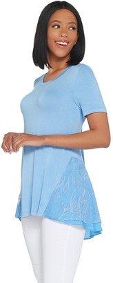Logo by Lori Goldstein Knit Top with Embroidered Mesh and Satin