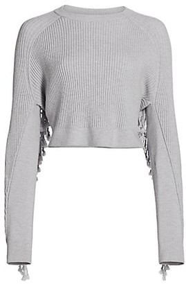Jonathan Simkhai Hannah Drape Fringe Rib-Knit Wool-Blend Crop Sweater