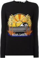 Stella McCartney One Love embroidered stretch sweatshirt - women - Spandex/Elastane/Acetate/Viscose - 42