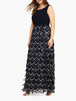 Studio 8 Ariel Beaded Maxi Dress, Navy/Silver
