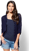 New York & Co. Crochet-Trim Open-Front Cardigan