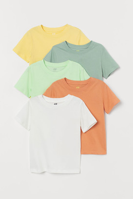 H&M 5-pack Cotton T-shirts - Yellow