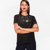 Paul Smith Women's Black Silk Top With Jewel Embellishments