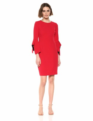Taylor Dresses Women's Contrast Lining Bell Sleeve Sheath Dress