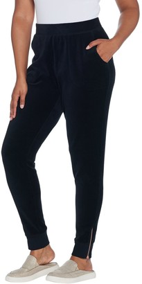Denim & Co. Active Regular Velour Joggers with Zippers at Cuff