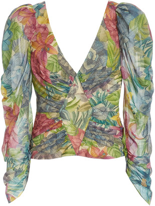 AMUR Jerre Printed Silk-Chiffon Top