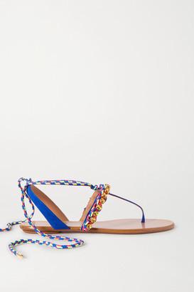 Aquazzura Surf Crystal-embellished Braided Cord And Suede Sandals - Indigo