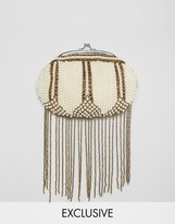 Amelia Rose Beaded Embellished Clutch Bag With Bead Tassles