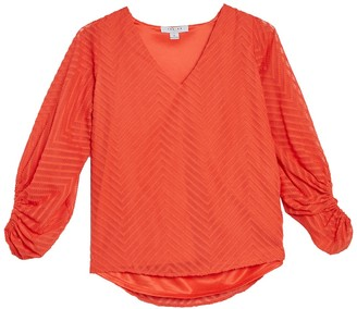 FAVLUX Textured Ruched 3/4 Sleeve Top