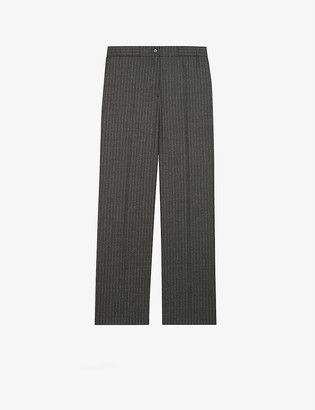 Maje Piland striped high-rise wool and cashmere-blend trousers