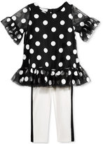 First Impressions 2-Pc. Flocked-Dot Tunic & Leggings Set, Baby Girls (0-24 months), Only at Macy's