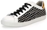 Rene Caovilla Pearly Leather Low-Top Sneaker, White/Black