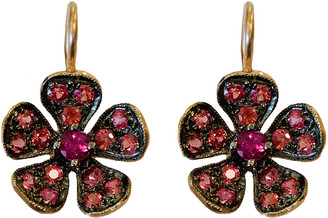 Cathy Waterman Fuchsia Sapphire Petal Violet Earrings - Yellow Gold