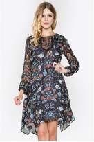 Sugar Lips Black, Blue, & Red Floral Print Dress